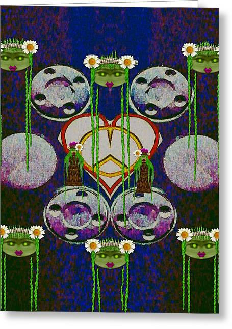 Lady Panda Welcomes Spring In Love And Light And Peace Greeting Card by Pepita Selles