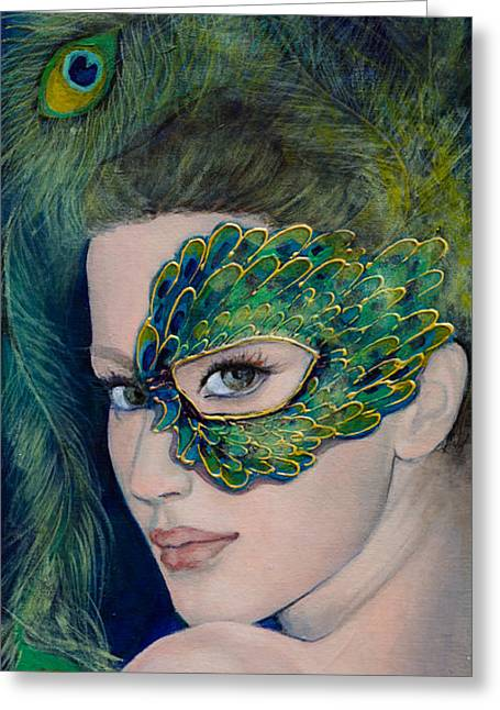 Carnivale Greeting Cards - Lady Peacock Greeting Card by Dorina  Costras