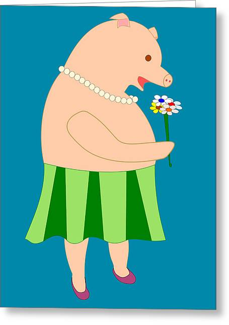 Lady Pig Smelling Flower Greeting Card by John Orsbun