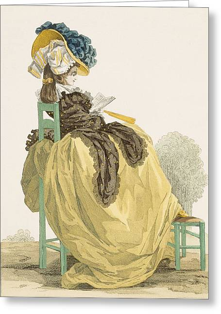 Belles Drawings Greeting Cards - Lady Reading In A Garden In A Simple Greeting Card by Francois Louis Joseph Watteau