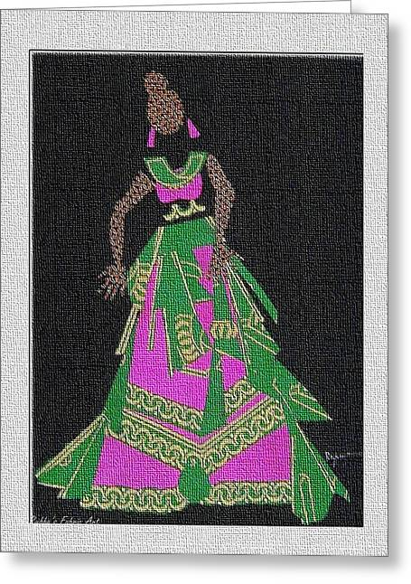 Lady Tapestries - Textiles Greeting Cards - Lady Singer Greeting Card by Ruth Yvonne Ash