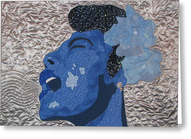 Thread Tapestries - Textiles Greeting Cards - Lady Sings Greeting Card by Aisha Lumumba