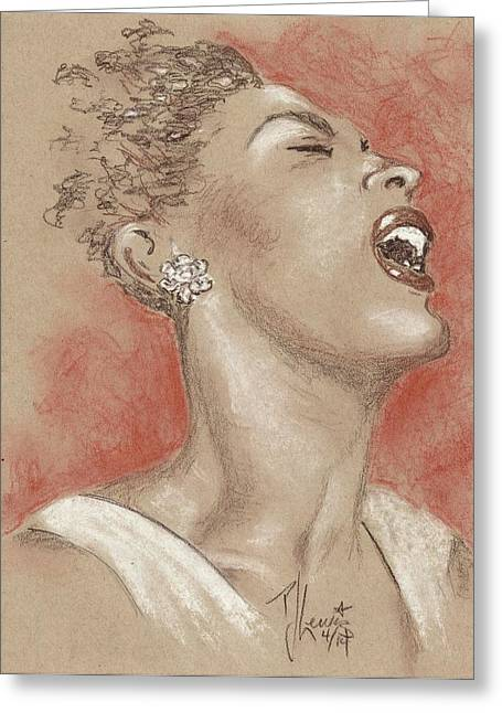 African American Drawings Greeting Cards - Lady sings the blues Greeting Card by P J Lewis