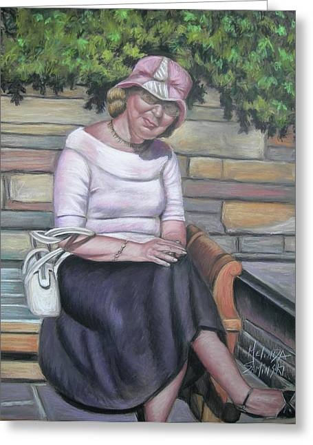 Park Scene Pastels Greeting Cards - Lady Sitting on a Bench with Pink Hat Greeting Card by Melinda Saminski
