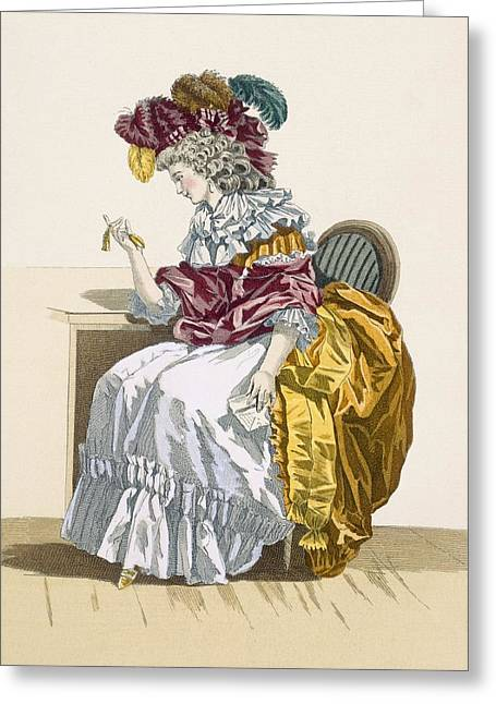 Belles Drawings Greeting Cards - Lady Sitting Waiting For A Friend Greeting Card by Francois Louis Joseph Watteau