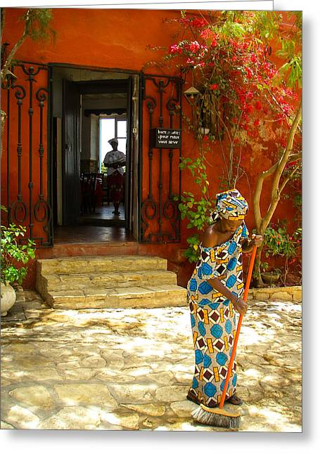 Recently Sold -  - Entrance Door Greeting Cards - Lady Sweeping Courtyard of Restaurant Ile de Goree Dakar Senegal West Africa Greeting Card by Robert Ford