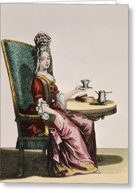 Spot Drawings Greeting Cards - Lady Taking Coffee, Fashion Plate Greeting Card by Nicolas Bonnart