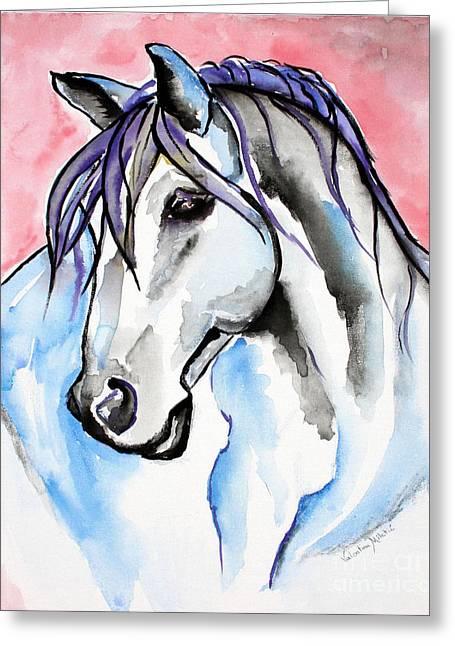Horses Greeting Cards - Lady Velvet - Horse Art by Valentina Miletic Greeting Card by Valentina Miletic