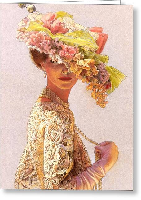 Romantic Floral Greeting Cards - Lady Victoria Victorian Elegance Greeting Card by Sue Halstenberg