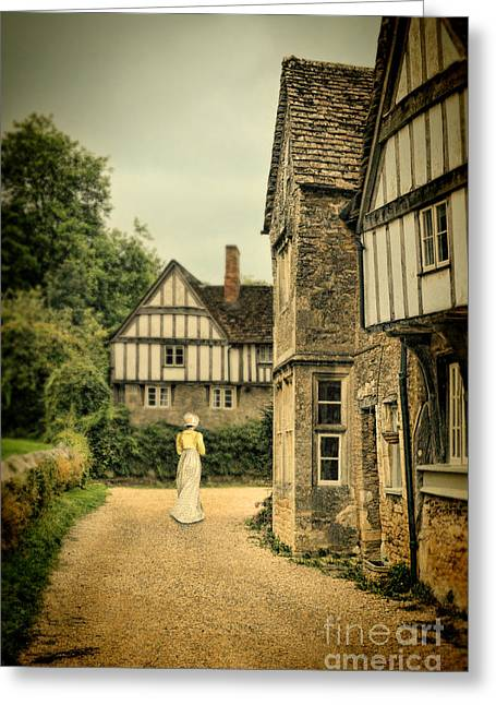 Charming Town Greeting Cards - Lady Walking in the Village Greeting Card by Jill Battaglia