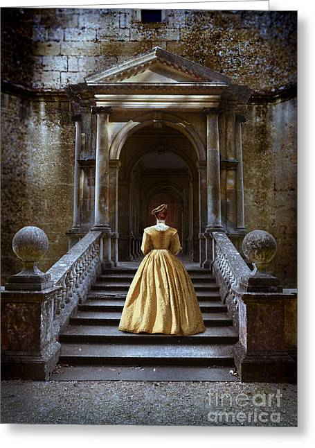 Medieval Entrance Greeting Cards - Lady Walking up Stone Steps Greeting Card by Jill Battaglia