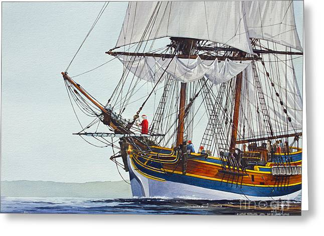 Wooden Ship Paintings Greeting Cards - Lady Washington and Captain Gray Greeting Card by James Williamson
