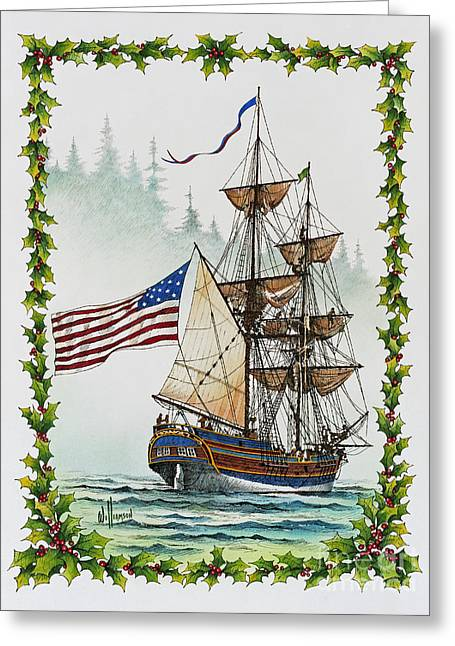 Artist James Williamson Maritime Print Greeting Cards - Lady Washington and Holly Greeting Card by James Williamson