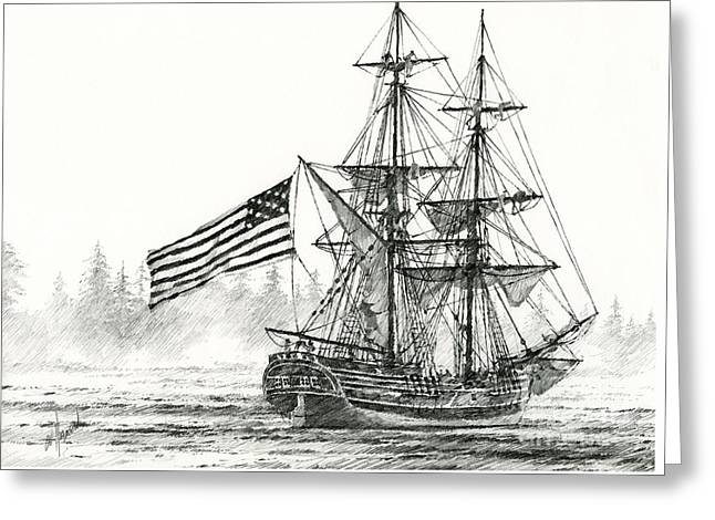 Artist James Williamson Maritime Print Greeting Cards - Lady Washington at Friendly Cove Greeting Card by James Williamson