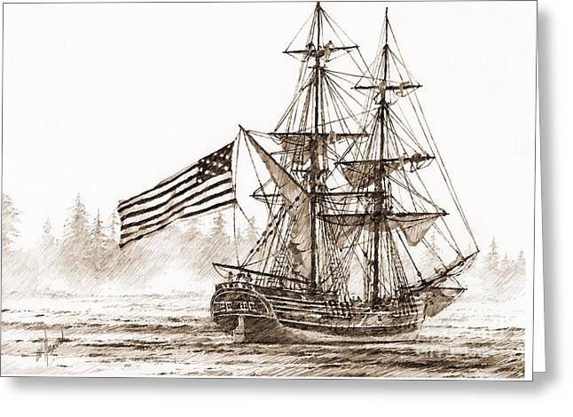 Lady Washington Drawings Greeting Cards - Lady Washington at Friendly Cove Sepia Greeting Card by James Williamson
