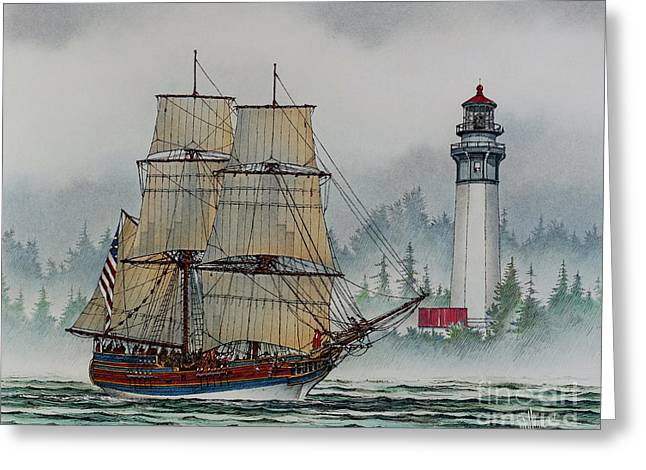 Lady Washington Greeting Cards - Lady Washington at Grays Harbor Greeting Card by James Williamson