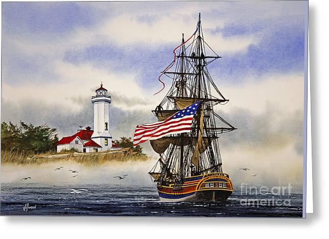 Lady Washington Greeting Cards - Lady Washington at Point Wilson Lighthouse Greeting Card by James Williamson