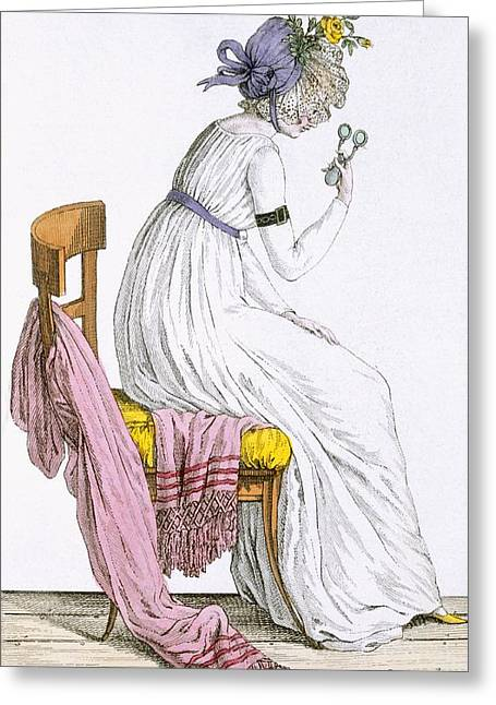 Parisian Greeting Cards - Lady Wearing A Negligee, From Costume Greeting Card by French School