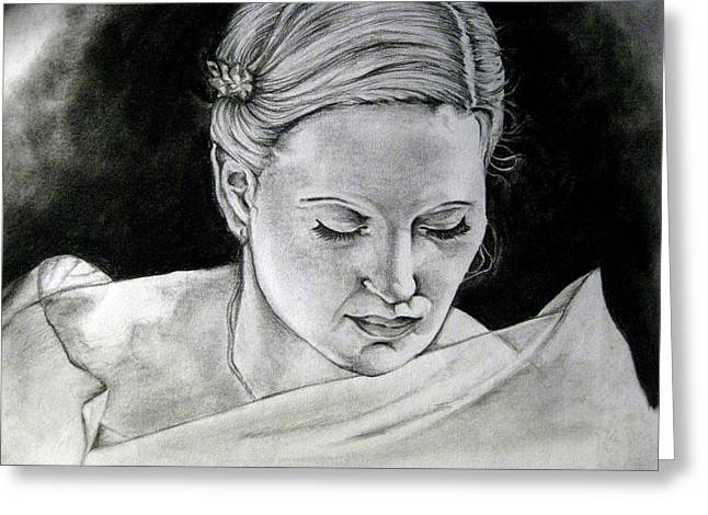 Black Widow Drawings Greeting Cards - Lady Widow White Greeting Card by Aliza Mirza
