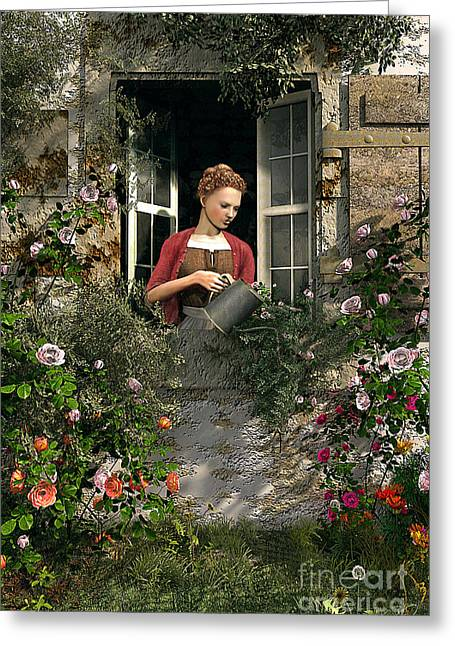Country Cottage Digital Art Greeting Cards - Lady Window Greeting Card by Dominic Davison