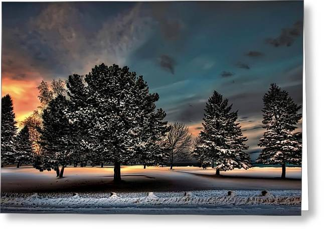 Recently Sold -  - Snowy Evening Greeting Cards - Lady winter  bringing a cold snap Greeting Card by Jeff S PhotoArt