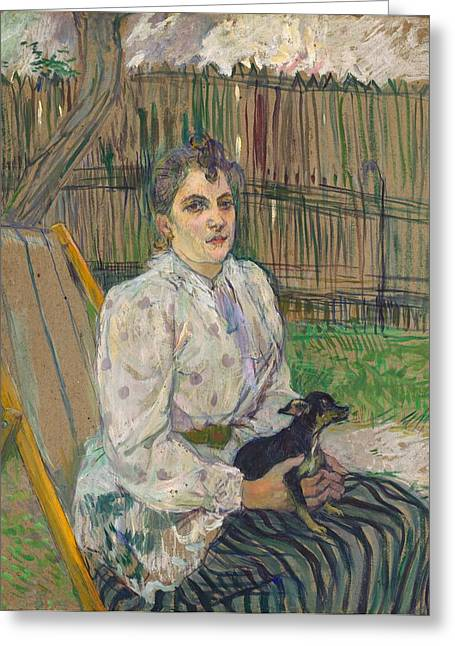 Lady Washington Greeting Cards - Lady with a Dog Greeting Card by Toulouse-Lautrec