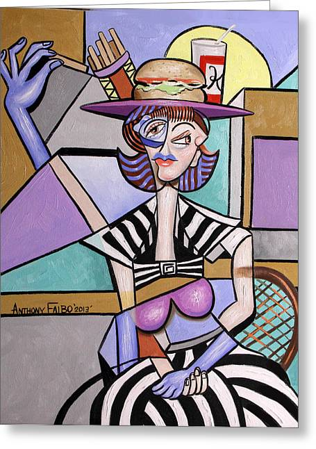Hamburger Greeting Cards - Lady With A Lunch Hat Greeting Card by Anthony Falbo