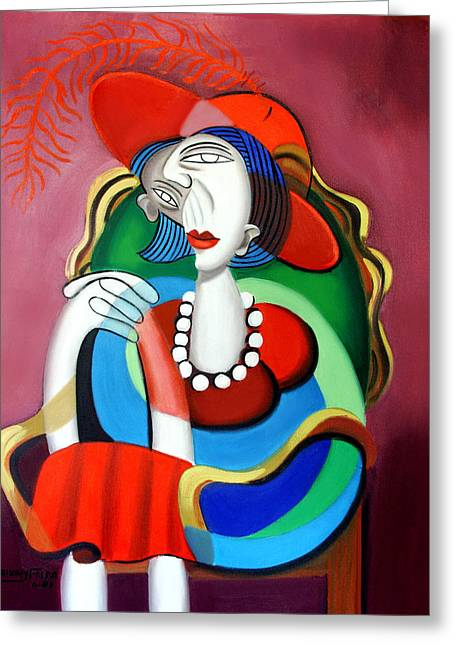 Cubist Greeting Cards - Lady With A Red Hat Greeting Card by Anthony Falbo
