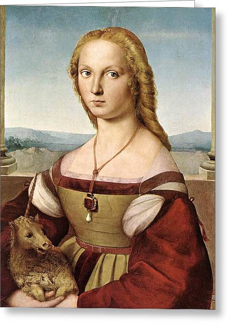Unicorn Art Painting Greeting Cards - Lady with a Unicorn - 1505 Greeting Card by Raphael