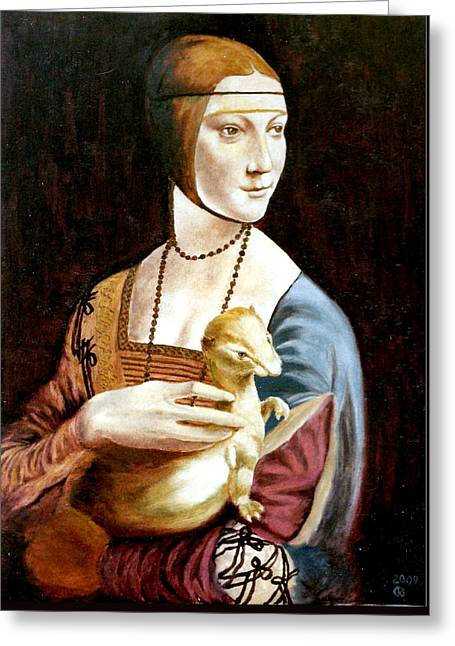 Henryk Greeting Cards - Lady with an Ermine Greeting Card by Henryk Gorecki
