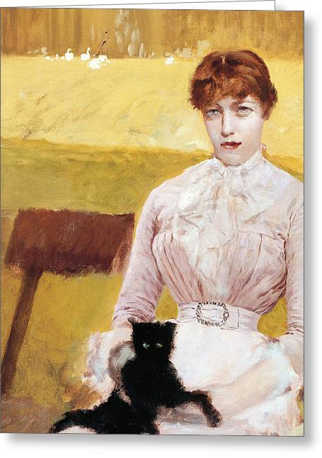 Park Benches Paintings Greeting Cards - Lady with Black Kitten Greeting Card by Giuseppe De Nittis