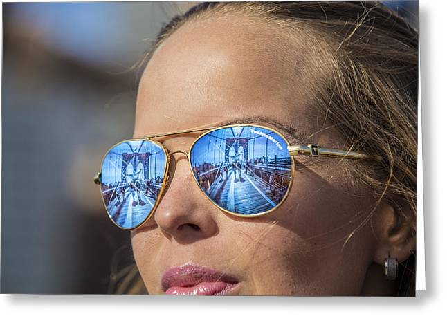 Reflecting The Brooklyn Bridge Greeting Card by John McGraw
