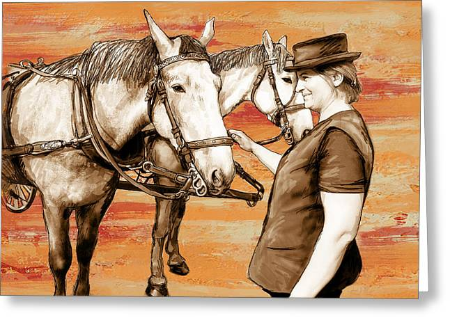 Stylised Greeting Cards - Lady with carriage horses - stylised pop art drawing poster Greeting Card by Kim Wang
