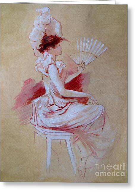 Dressing Room Greeting Cards - Lady with Fan - after Jules Cheret Greeting Card by Elizabeth Crabtree