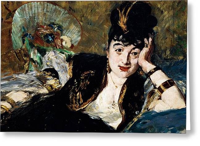 Mind Paintings Greeting Cards - Lady with Fan Portrait of Marie Anne de Callias known as Nina de Callias Greeting Card by Edouard Manet
