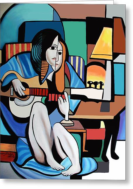 Playing Music Greeting Cards - Lady With Guitar Greeting Card by Anthony Falbo