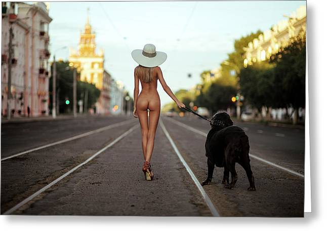 Lady With Her Dog Greeting Card by Gene Oryx
