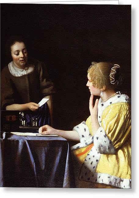 Fur Trim Greeting Cards - Lady with Her Maidservant Holding a Letter Greeting Card by Johannes Vermeer