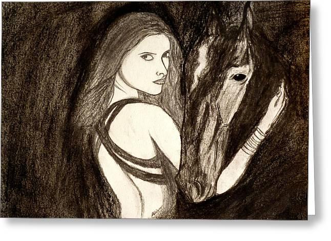 Abhinav Krishna Dwivedi Greeting Cards - Lady With Horse Greeting Card by Abhinav Krishna Dwivedi