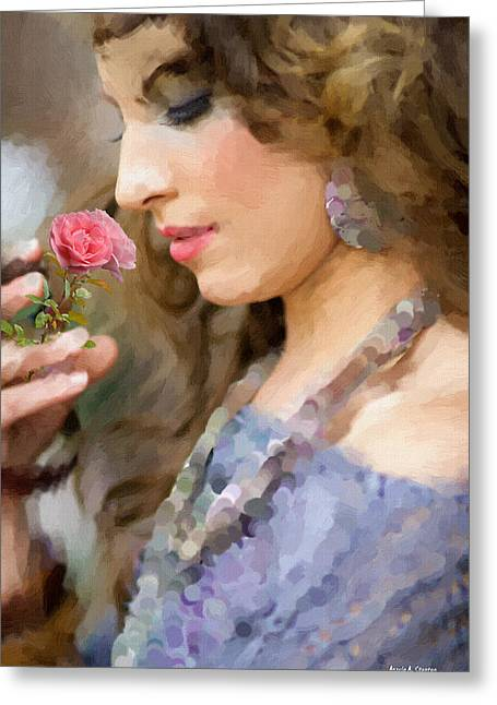 Lady With Pink Rose Greeting Card by Angela A Stanton