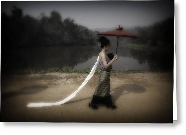 David Longstreath Greeting Cards - Lady with Red Umbrella Greeting Card by David Longstreath