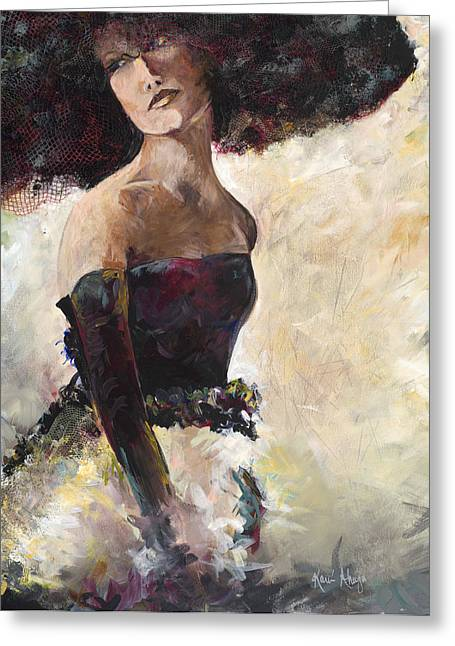 Netting Paintings Greeting Cards - Lady with the Netted Hat Greeting Card by Karen Ahuja