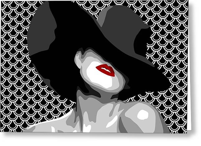 Pater Greeting Cards - Lady with the red lips Greeting Card by Mihaela Pater