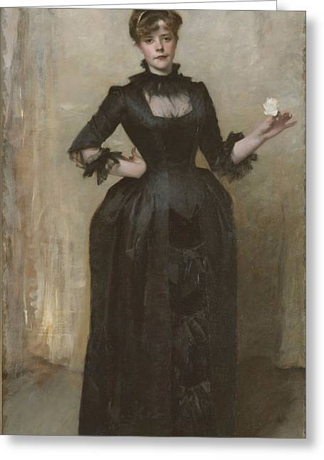 Charlotte Art Museums Greeting Cards - Lady with the Rose - Charlotte Louise Burckhardt Greeting Card by John Singer Sargent
