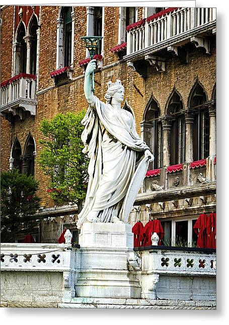 The Piazza Greeting Cards - Lady With Torch - Venice Greeting Card by Jon Berghoff