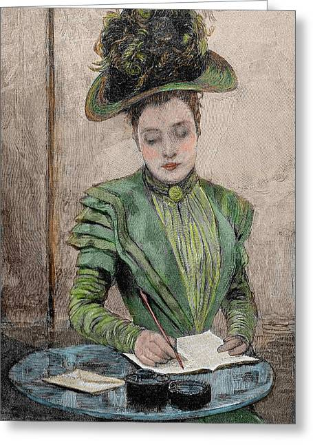 Lady Writing A Letter Greeting Card by Prisma Archivo