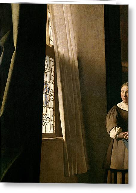 Detail From A Lady Writing A Letter With Her Maid Greeting Card by Jan Vermeer