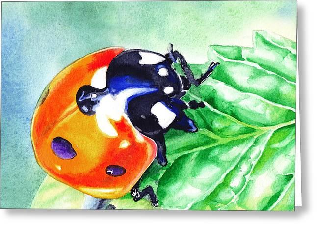 Lady Bug Greeting Cards - Ladybug On The Leaf Greeting Card by Irina Sztukowski