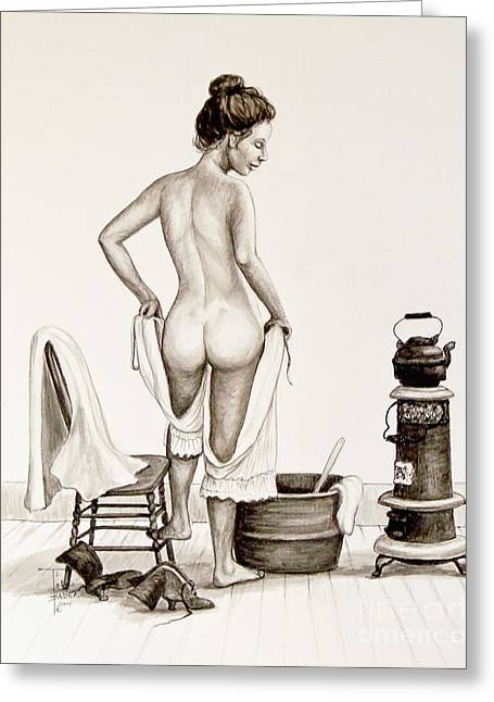 Pantaloons Greeting Cards - Ladys Bath 1890s Greeting Card by Art by - Ti   Tolpo Bader