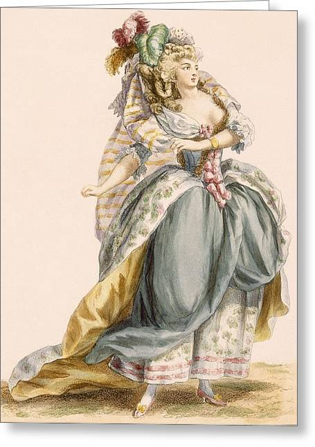Veiled Drawings Greeting Cards - Ladys Costume Based On The Opera La Greeting Card by Francois Louis Joseph Watteau